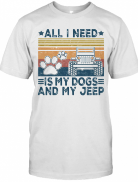 All I Need Is My Paw Dogs And My Jeep Vintage Retro Stars T-Shirt