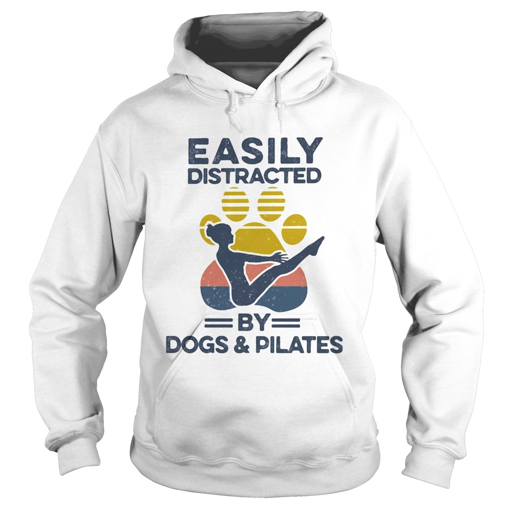 Easily Distracted By Dogs And Pilates Footprint Vintage Retro  Hoodie