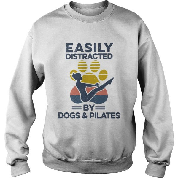 Easily Distracted By Dogs And Pilates Footprint Vintage Retro  Sweatshirt