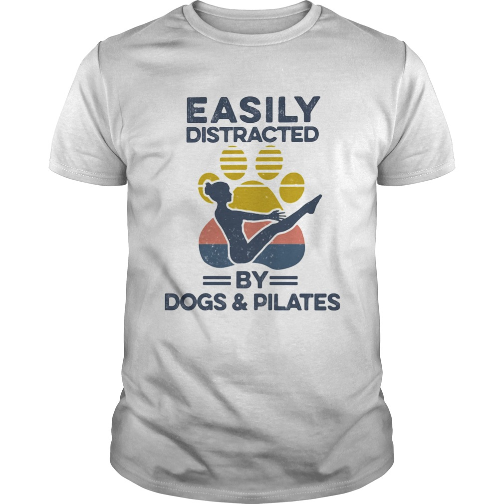 Easily Distracted By Dogs And Pilates Footprint Vintage Retro  Unisex