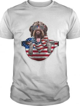 German wirehaired pointer waist pack american flag independence day shirt
