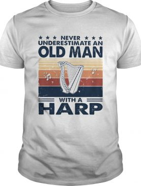 Never underestimate an old man with a harp vintage retro stars shirt