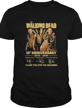 The walking dead movie 10th anniversary 2010 2020 thank you for the memories signatures shirt