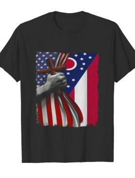 Ohio american flag cross happy independence day shirt
