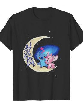 Stitch and angel i love you to the moon and back hearts shirt