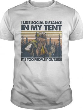 Bear Camping I like social distance in my tent its too peopley outside vintage retro shirt