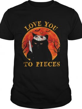Black cat with knife Love you to pieces sunset shirt