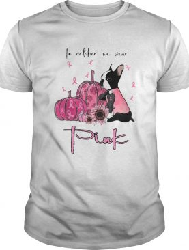 Halloween chihuahua in october we wear pink sunflower pumpkins and cancer awareness shirt