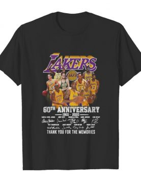 Los angeles lakers 60th anniversary 1960 2020 thank you for the memories signatures shirt