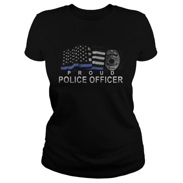Proud police officer american flag independence day  Classic Ladies