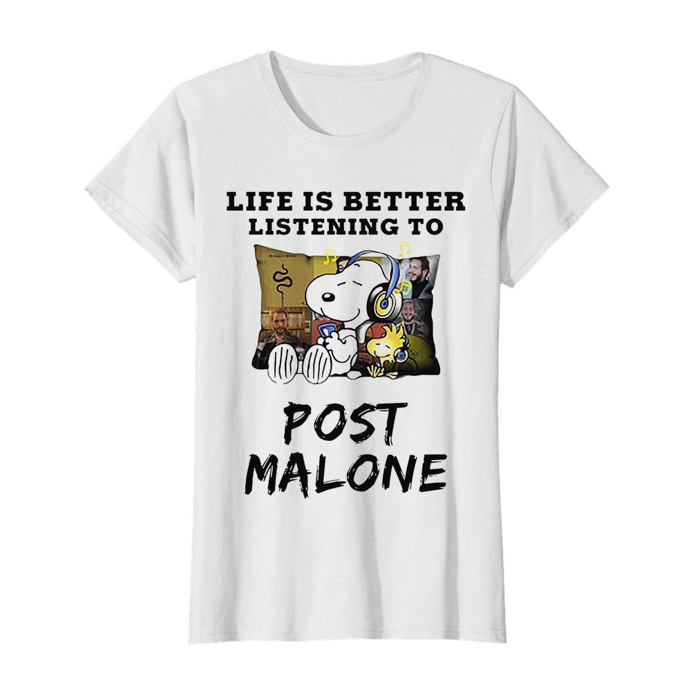 Snoopy and woodstock life is better listening to post malone  Classic Women's T-shirt
