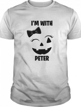 I'm With Peter Funny Couples Halloween Winking Girl Pumpkin shirt