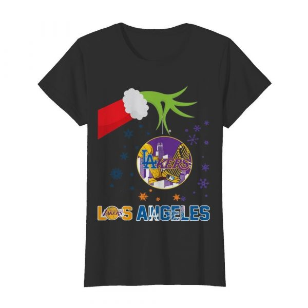 Grinch Hand Holding Lakers Los Angeles Christmas  Classic Women's T-shirt