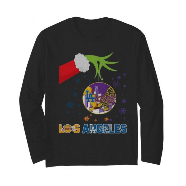 Grinch Hand Holding Lakers Los Angeles Christmas  Long Sleeved T-shirt