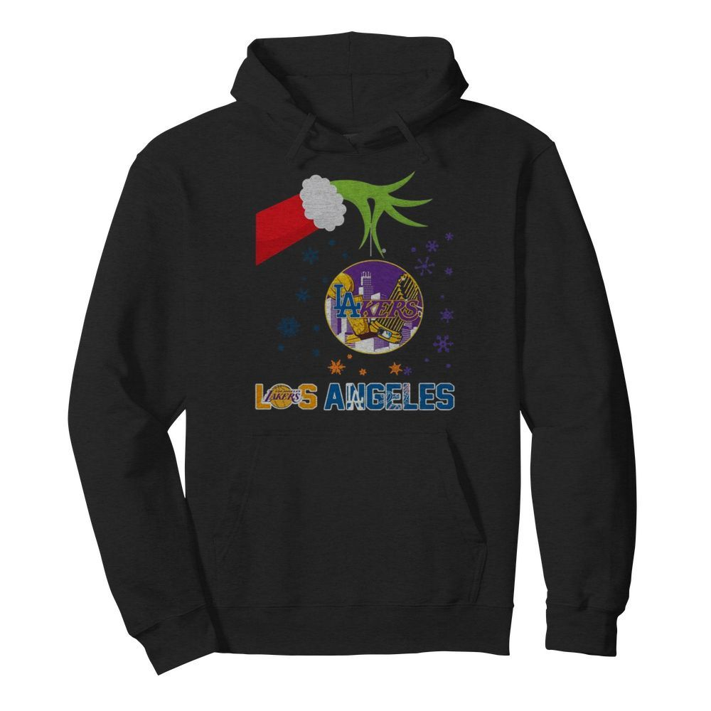 Grinch Hand Holding Lakers Los Angeles Christmas  Unisex Hoodie