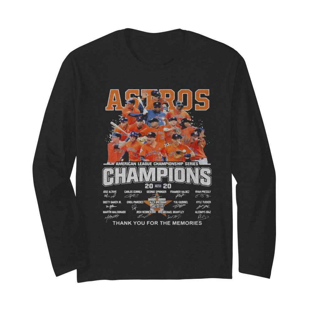 Houston astros american league championship series champions thank you for the memories signatures  Long Sleeved T-shirt