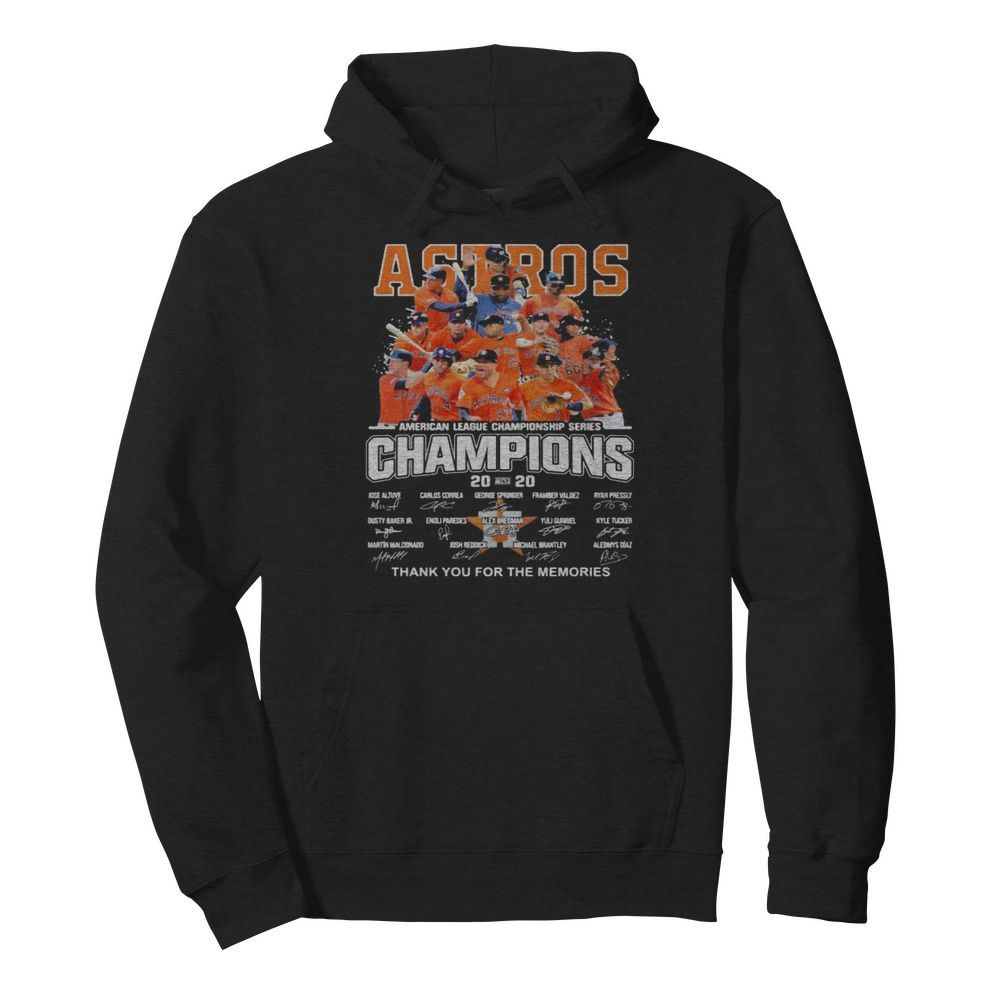 Houston astros american league championship series champions thank you for the memories signatures  Unisex Hoodie