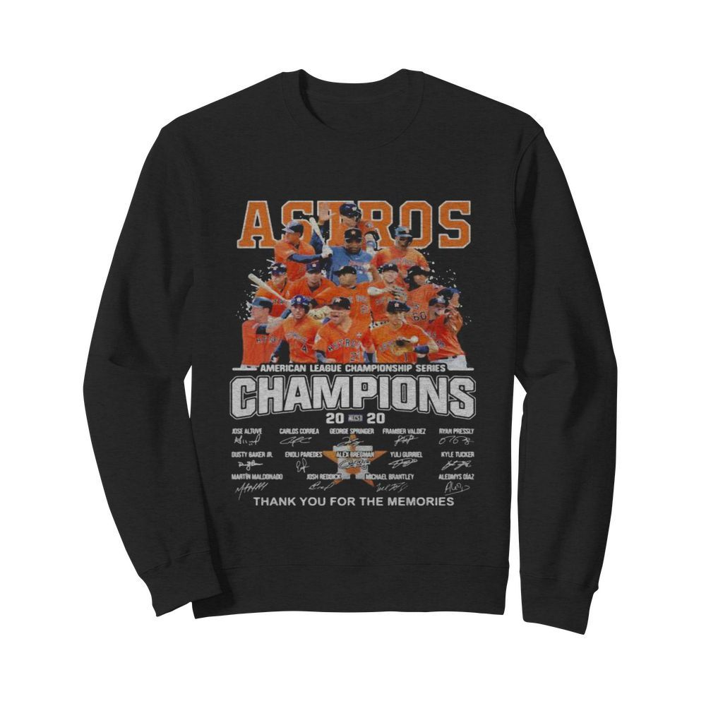Houston astros american league championship series champions thank you for the memories signatures  Unisex Sweatshirt