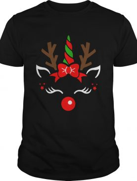 Unicorn Face Reindeer Antlers Christmas Funny Pet Kids Gifts shirt