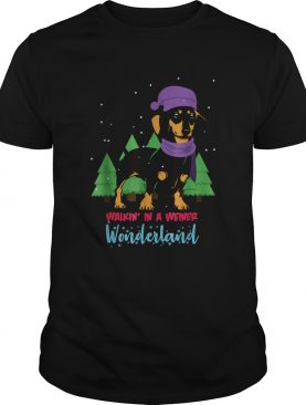 Walking In A Weiner Wonderland Dachshund Christmas Snow shirt