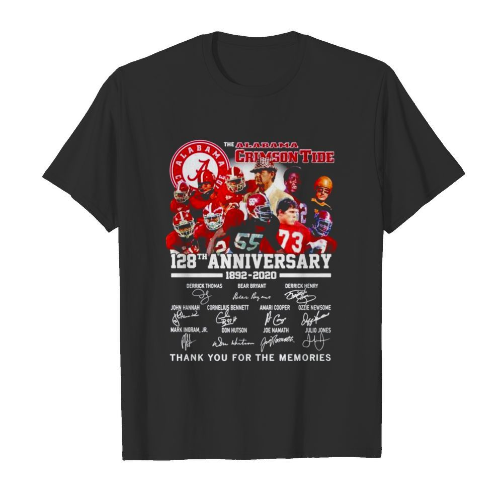 Alabama Crimson Tide 128th anniversary 1892 2021 thank you for the memories  Classic Men's T-shirt
