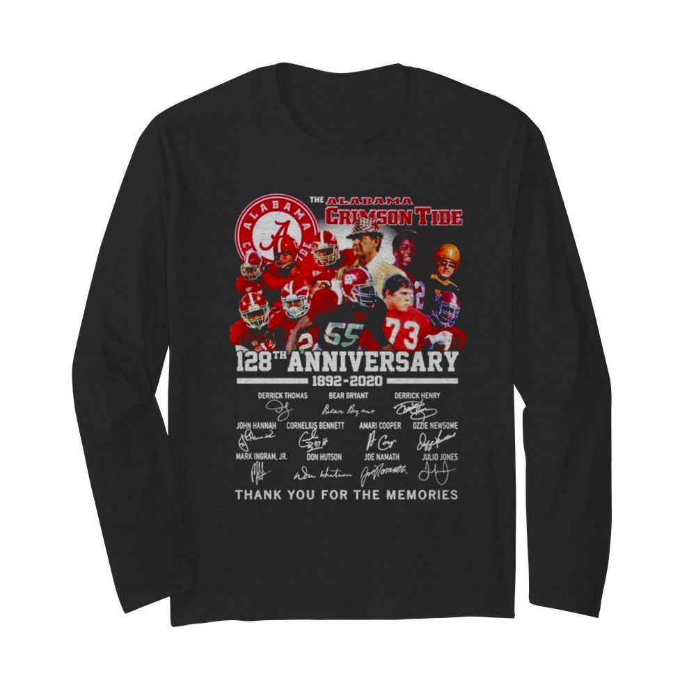 Alabama Crimson Tide 128th anniversary 1892 2021 thank you for the memories  Long Sleeved T-shirt