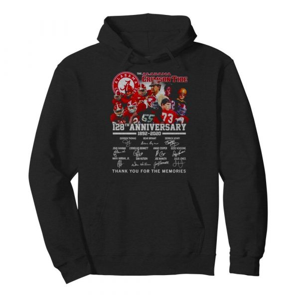 Alabama Crimson Tide 128th anniversary 1892 2021 thank you for the memories  Unisex Hoodie