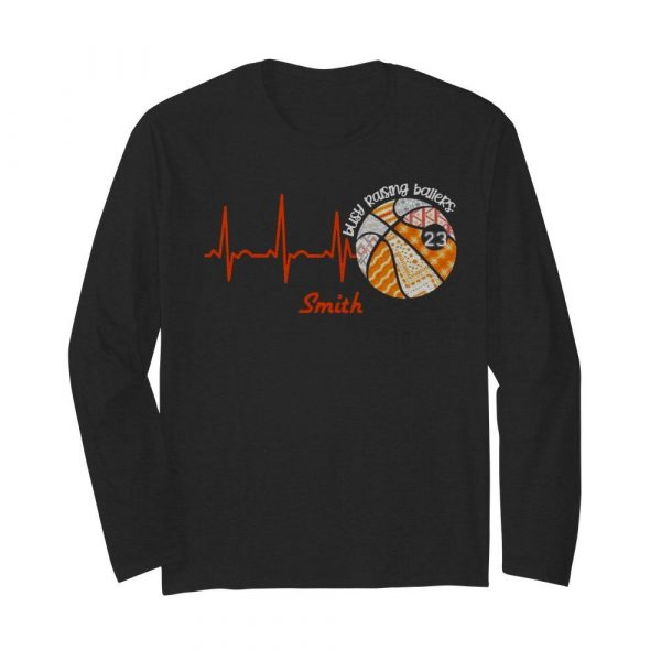 Heartbeat Volleyball Busy Raising Ballers Smith  Long Sleeved T-shirt