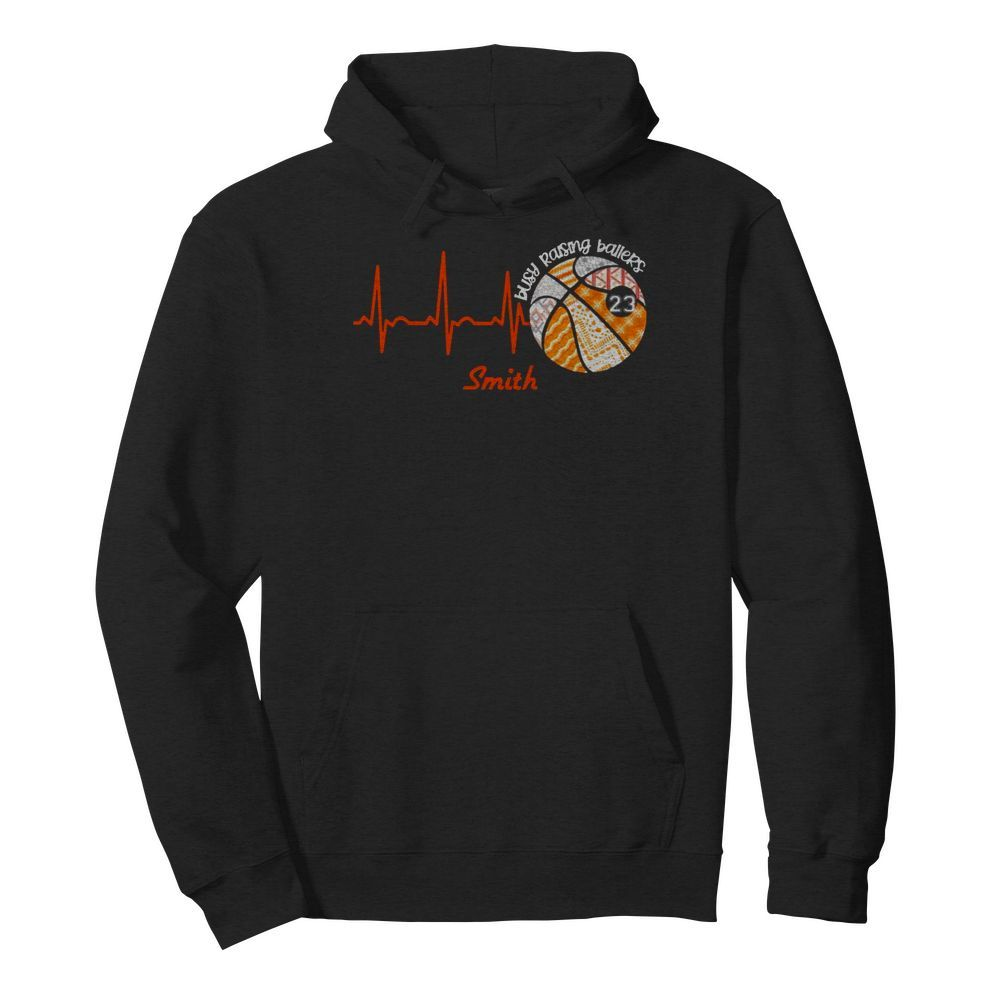 Heartbeat Volleyball Busy Raising Ballers Smith  Unisex Hoodie
