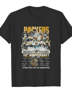 Packers Green bay Packers 102nd Anniversary 1919 2021 signatures thank you for the memories shirt