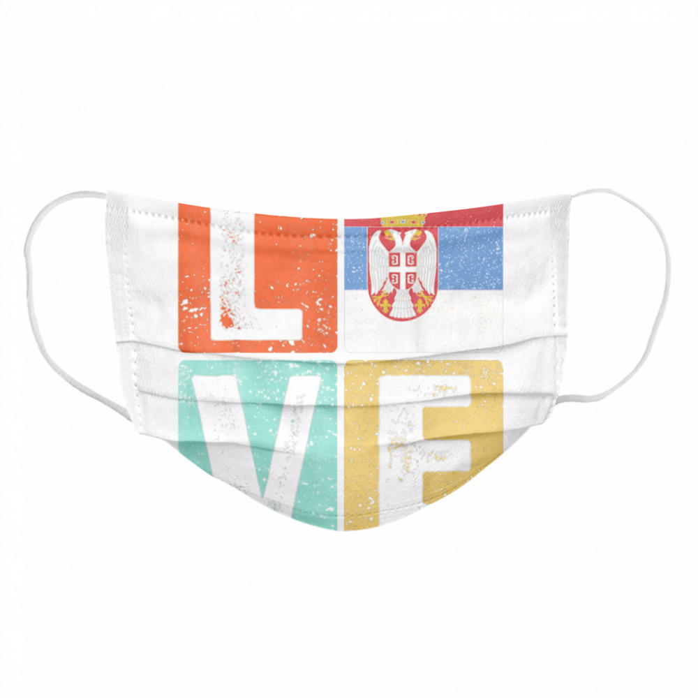 Vintage Retro I Love Serbia Flag for Serbian Pride  Cloth Face Mask