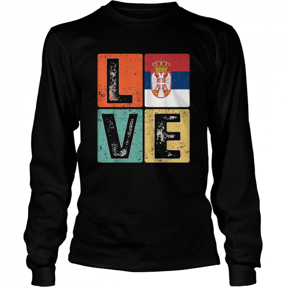 Vintage Retro I Love Serbia Flag for Serbian Pride  Long Sleeved T-shirt